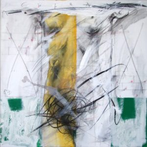 The Column, 2009, mixed technique on canvas, 100 x 100 cm