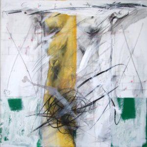 The Column, 2009, mixed technique on canvas, 100 x 100 cm