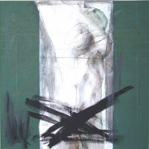 The Grey Column, 2009, mixed technique on canvas, 100 x 100 cm