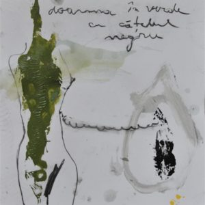 Lady in Green with a Black Dog, 2013, mixed technique on canvas, 40 x 35 cm